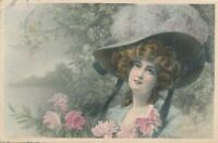 Wichera Signed Young Woman with Hat with Ribbons Hand Colored Vienne PC