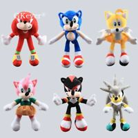 Hedgehog Tails Amy Rose Knuckles Shadow Sliver Plush Toys Stuffed Doll 10'' Gift