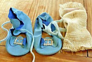 Antique doll Blue Tie Buckle Shoes