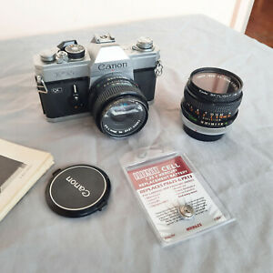 Canon FTB QL Film Camera with 50mm 1.8 lens + 28mm 2.8 lens & two filters