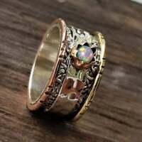 Spinner Ring, Opal Silver Ring, Meditation Ring, Opal Spinner Ring, Handmade