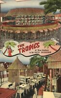 Vintage Postcard 1945 The Tropics West Madison Hotel Chicagoan Tiki Restaurant