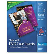 Avery Inkjet DVD Case Inserts Matte White 20/Pack 8891