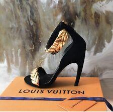 Rare Louis Vuitton Black Gold V Symphony Sandal Heels Sz 39