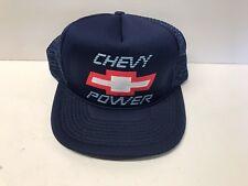 Vintage Chevy Power Bowtie Snapback Mesh Hat Blue Truckers Chevrolet