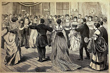 President Grant Dancing LONG BRANCH N.J. Stetson House 1869 Engraving Matted