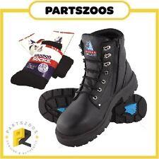 Steel Blue Argyle Zip Black Leather Work Boots Safety Toecap 312152 Bamboo Socks