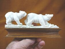 (bear-12) bear pair 2 of shed Antler figurine Bali detailed carving Arctic bears