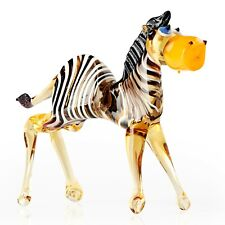Glass Zebra Figurine Hand Crafted Zebra Animal Figures - Glass Animal Ornament