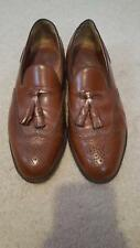 Mens Walk-Over Brown Leather Slip on Shoes with Tassels, Size 9.5 EEE