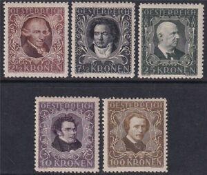 Österreich 1922 Nr. 418 B - 424 B postfrisch gez. 11,5 Komponisten