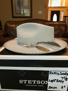 "STETSON ""RATTLER"" LIGHT GREY 7 5/8 GREAT STYLE!"