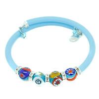 Cristal de Murano Pulsera Azul Multicolor Hecho a Mano Cuenta De Venecia Regalo