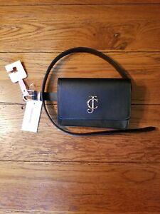 NWT Juicy Couture Belt Bag Fanny Pack Black Gold Rhinestone Logo Size M/L