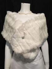 IVORY Faux Mink Fur Stole Shawl Shrug Wrap Cape Bridal Wedding