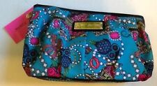 BETSEY JOHNSON JUNK IN THE TRUNK COSMETIC TEAL RHINESTONE MAKEUP BAG POUCH LARGE