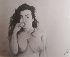 Framed original 8x10 pencil drawing of nude latin woman done by artist ARTuro