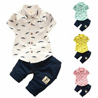 Baby kids boys clothes Shirt & short pants 2PCs summer daily party Outfits beard