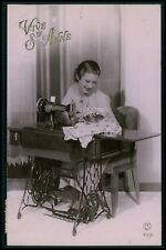 Lady woman and sewing machine original old 1930s photo postcard aa