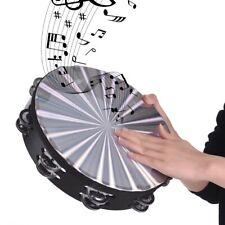 "10"" Musical Tambourine Tamborine Drum Round Percussion Gift for Ktv Party E6W5"