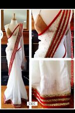 Indian Women Engagement Partywear Beautiful Unique White & Royal Red Fancy Saree