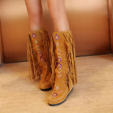 Ladies Casual Bohemia Suede Tassel Embroidery Moccasin Knee High Boots Shoes Hot