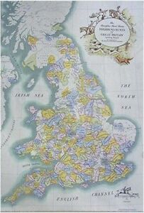 UK FOXHUNTING  MAP   (FOX - HOUNDS) ENGLAND HUNTING EQUESTRIAN HOUNDS