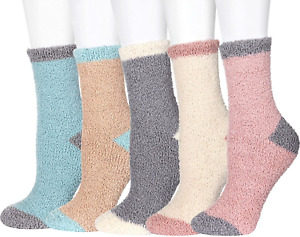 5 Pairs Fluffy Socks for Women and Girls Cosy Bed Socks Ladies Comfy Warm Fuzzy