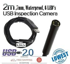 E25 2m 7mm 6 LED Waterproof Bore scope Endoscope Inspection Snake Wire Camera