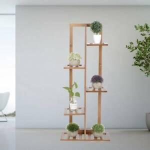 6 Holder Flower Plant Pot Wooden Shelf Stand Display Garden Rack Indoor Storage