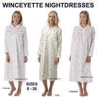 Winceyette Nightdress Warm 100% Cotton Long New Ladies Flannelette Nightie 8-26
