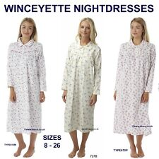 Winceyette Nightdress Warm 100% Cotton Long New Ladies Flannelette Nightie 8-26