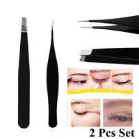2Pcs Eyebrow Tweezer Pointed Plucker Nipper Hair Remover Tweezers Set