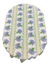 Provencal 100% Coated Cotton Tablecloth Lavender Bouquet Ecru  Made France 61X78