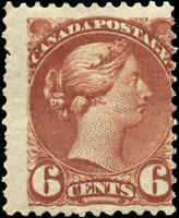 Canada Mint F Scott #43 6c1888-1897 Small Queen Issue Stamp Hinged