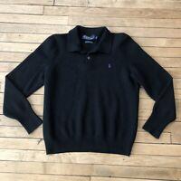Vintage women's Polo Ralph Lauren black 100% lambs wool long sleeve polo sweater