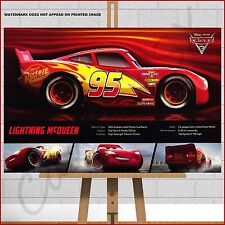 """Disney Cars 3 Movie Framed Canvas Print Picture A1 30""""x20"""" Kids Bedroom Wall Art"""