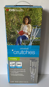 """Universal Crutches CVS Health For Users 4'6"""" to 6'6"""" Tall 300 Lbs Tool Free Box"""