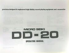 Micro Seiki Model DD-20 Turntable Owners Manual
