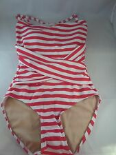 NWT Downeast Down for a Dip 1pc Red/White Stripe Swimsuit Sz M