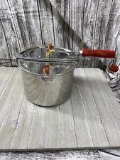 Popcorn Maker Pop Stovetop Popper Hand Crank Stir Kettle Removable Lid Pot 49e