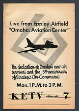 1961 dedication ad ~ Eppley Airfield Omaha Aviation Center on KETV TV Nebraska