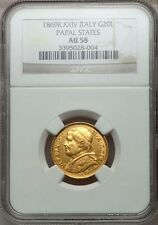 ITALY PAPAL STATES 1869 20 LIRE GOLD COIN ALMOST UNCIRCULATED CERTIFIED NGC AU58