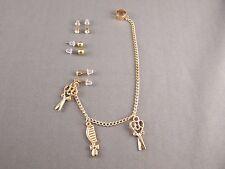 "Gold scissors comb hair dresser stud earrings ear Cuff 6.5"" long chain dangle"