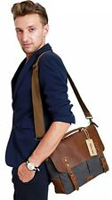 Messenger Satchel Bag For Men And Women,Vintage Canvas Real Leather briefcase