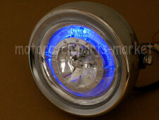 Chrome LED Angel Eye Side Mount Headlight Honda Kawasaki Suzuki Yamaha CG GN 125