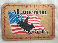 New Vintage Wood Rodeo Cowboy Sign All American Cowboy Garage Mancave Wall Art