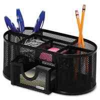 Rolodex Black Mesh 8-compartment Pencil Cup Organizer
