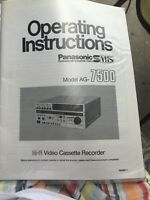 Panasonic AG-7500 Operating Instruction Manual Guide Video Cassette Recorder