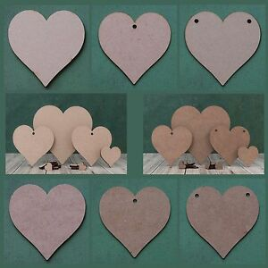 Wooden MDF heart shape cutout blank tag for craft, bunting and garland holes